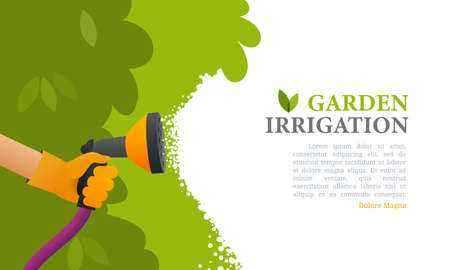 Garden care irrigation vector illustration. Watering plants banner. Cartoon character takes care of the plants