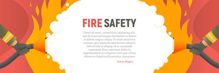 Fire safety vector web banner. Precautions the use of fire background template. Firefighters fights a fire cartoon flat design. Natural fires and disasters illustration 일러스트