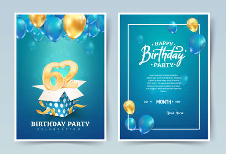 62nd years birthday vector invitation double card. Sixty two years wedding anniversary celebration brochure. Template of invitational for print on blue background