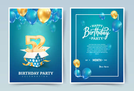52nd years birthday vector invitation double card. Fifty two years wedding anniversary celebration brochure. Template of invitational for print on blue background Illusztráció