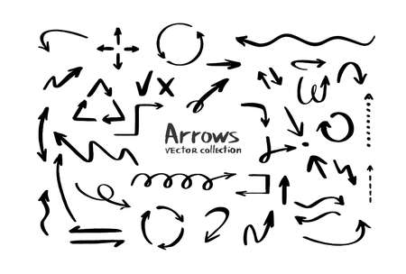 Collection of hand drawn arrows vector icon. Direction cursors sketch symbols set on white background