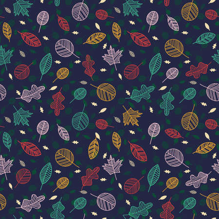 Floral nature leaves vector seamless pattern hand drawn. Stock Illustratie