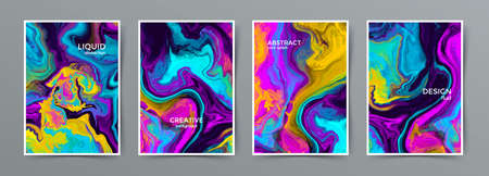 Liquid marble vibrant colors mix vector banner, card, brochure. Colorful alcohol ink. Abstract colorful illustration. Acrylic artwork paints