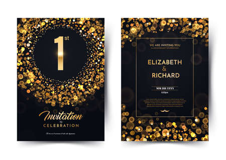 1st year birthday vector black paper luxury invitation double card. One year wedding anniversary celebration brochure. Template of invitational for print on dark background with bokeh lights