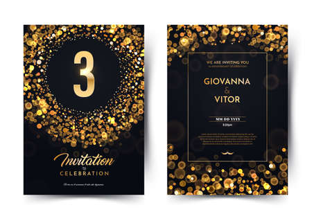 3rd years birthday vector black paper luxury invitation double card. Three years wedding anniversary celebration brochure. Template of invitational for print on dark background with bokeh lights