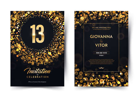 13th years birthday vector black paper luxury invitation double card. Thirteen years wedding anniversary celebration brochure. Template of invitational for print on dark background with bokeh lights