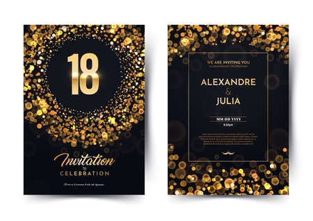 18th years birthday vector black paper luxury invitation double card. Eighteen years wedding anniversary celebration brochure. Template of invitational for print on dark background with bokeh lights Stock Illustratie
