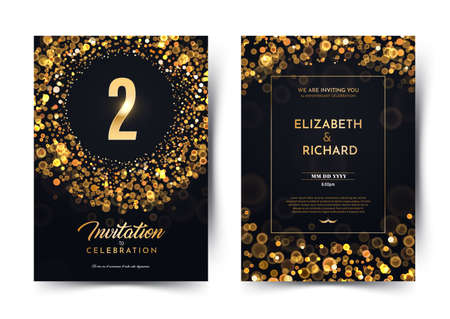 2nd year birthday vector black paper luxury invitation double card. Two year wedding anniversary celebration brochure. Template of invitational for print on dark background with bokeh lights