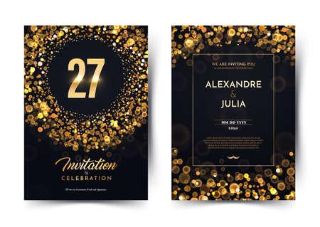 27th years birthday vector black luxury invitation double card. Twenty seven years wedding anniversary celebration brochure. Template of invitational for print on dark background with bokeh lights