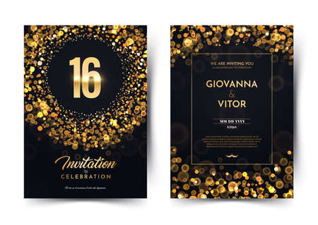 16th years birthday vector black paper luxury invitation double card. Sixteen years wedding anniversary celebration brochure. Template of invitational for print on dark background with bokeh lights