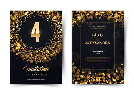 4th years birthday vector black paper luxury invitation double card. Four years wedding anniversary celebration brochure. Template of invitational for print on dark background with bokeh lights Stock Illustratie