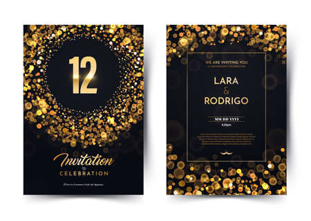 12th years birthday vector black paper luxury invitation double card. Twelve years wedding anniversary celebration brochure. Template of invitational for print on dark background with bokeh lights