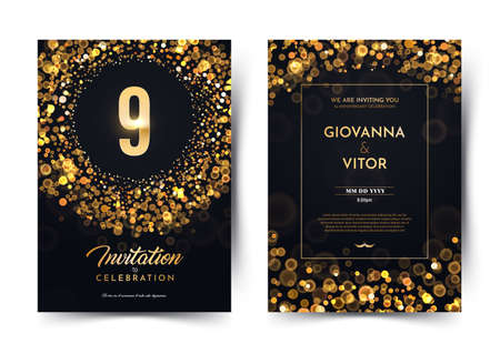 9th years birthday vector black paper luxury invitation double card. Nine years wedding anniversary celebration brochure. Template of invitational for print on dark background with bokeh lights