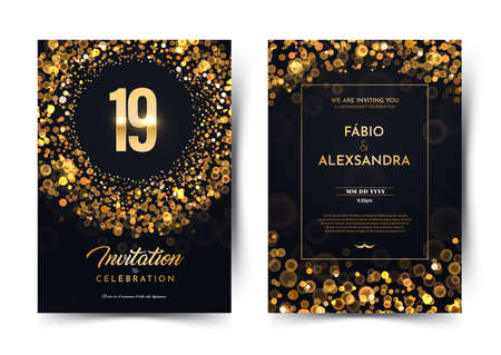 19th years birthday vector black paper luxury invitation double card. Nineteen years wedding anniversary celebration brochure. Template of invitational for print on dark background with bokeh lights Stock Illustratie