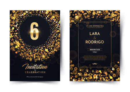 6th years birthday vector black paper luxury invitation double card. Six years wedding anniversary celebration brochure. Template of invitational for print on dark background with bokeh lights