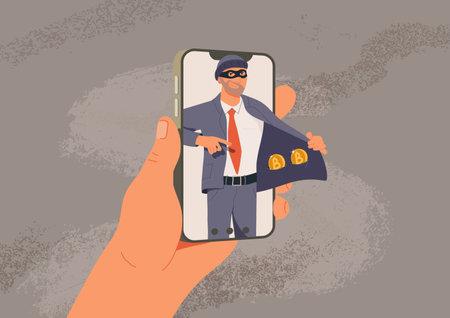 Online fraud vector illustration. Web hacking. Fraudster sells fake cryptocurrency, internet crime flat vector illustration. Hacker character frauding web online