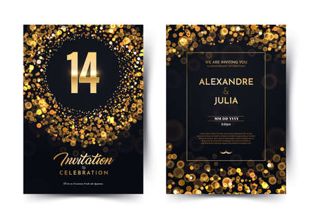 14th years birthday vector black paper luxury invitation double card. Fourteen years wedding anniversary celebration brochure. Template of invitational for print on dark background with bokeh lights