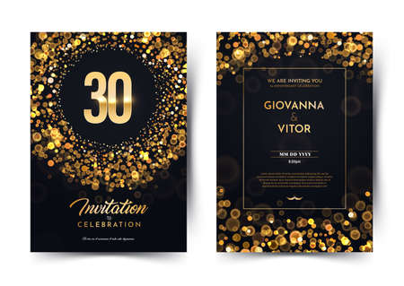 30th years birthday vector black paper luxury invitation double card. Thirty years wedding anniversary celebration brochure. Template of invitational for print on dark background with bokeh lights