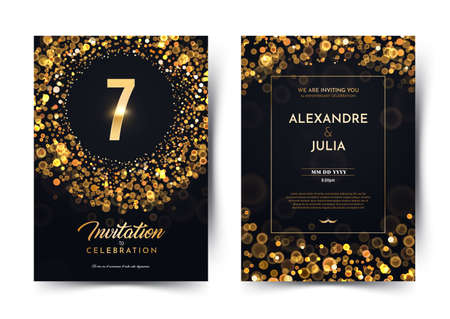 7th years birthday vector black paper luxury invitation double card. Seven years wedding anniversary celebration brochure. Template of invitational for print on dark background with bokeh lights