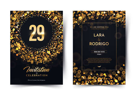 29th years birthday vector black paper luxury invitation double card. Twenty nine years wedding anniversary celebration brochure. Template of invitational on dark background with bokeh lights Stock Illustratie