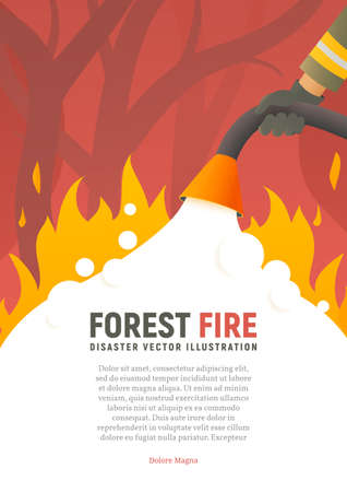 Forest fire vector placard. Fire safety illustration. Precautions the use of fire poster template. A firefighter fights a woods fire cartoon flat design. Natural disasters Stock Illustratie