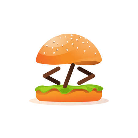 Coding and programming learning icon burger and tag metaphor vector isolated icon on white background Stock Illustratie