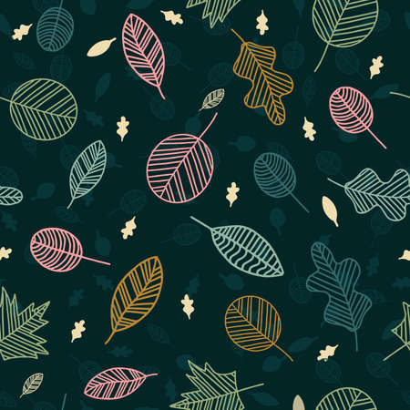 Floral nature leaves vector seamless pattern hand drawn on dark background.