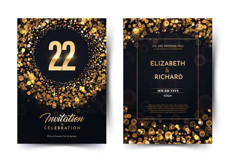 22nd years birthday vector black paper luxury invitation double card. Twenty two years wedding anniversary celebration brochure. Template of invitational for print on dark background with bokeh lights