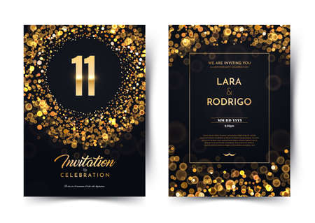11th years birthday vector black paper luxury invitation double card. Eleven years wedding anniversary celebration brochure. Template of invitational for print on dark background with bokeh lights Stock Illustratie