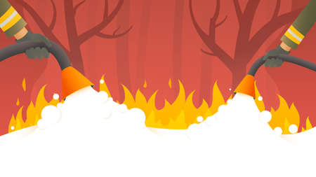 Forest wildlife fire. Firefighters fight a nature fire disaster vector cartoon illustration.