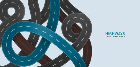 Toll and free roads. Vector highway set with main blue road top view modern illustration. City route unction viaduct white background.