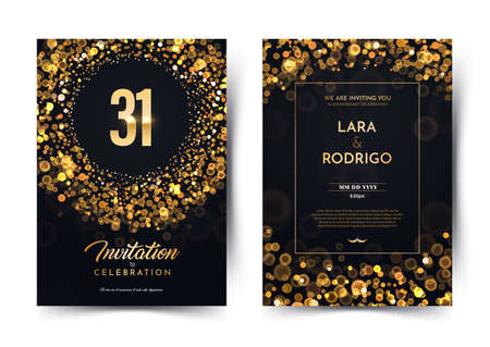 31st years birthday vector black paper luxury invitation double card. Thirty one years wedding anniversary celebration brochure. Template of invitational for print dark background with bokeh lights.