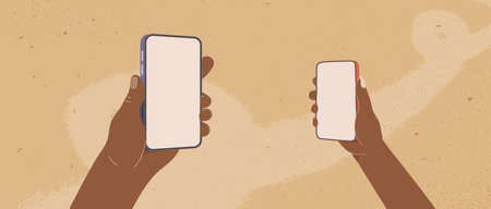 African mans and womans hands hold smartphone. Cartoon human arms holding phones flat vector illustration
