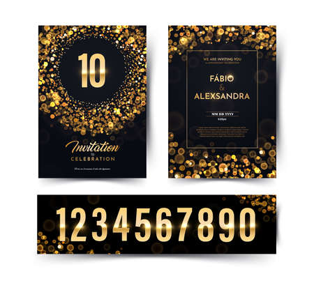 Birthday vector black paper luxury invitation double card with golden numbers collection. Wedding anniversary celebration brochure. Template of invitational for print dark background with bokeh lights