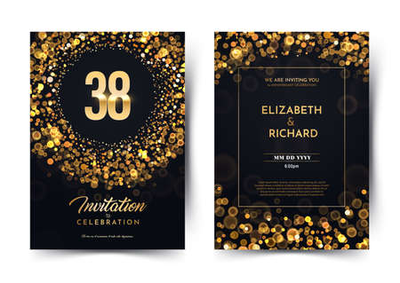 38th years birthday vector black paper luxury invitation double card. Thirty eight years wedding anniversary celebration brochure. Template of invitational for print dark background with bokeh lights. Stock Illustratie