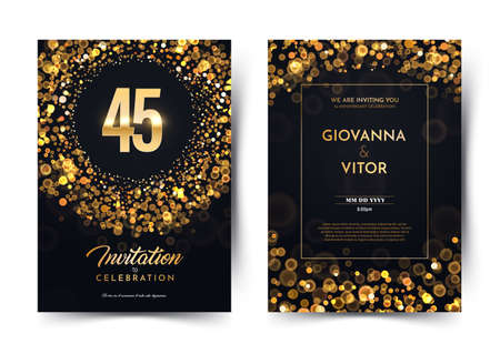 45th years birthday vector black paper luxury invitation double card. Forty five years wedding anniversary celebration brochure. Template of invitational for print dark background with bokeh lights Stock Illustratie
