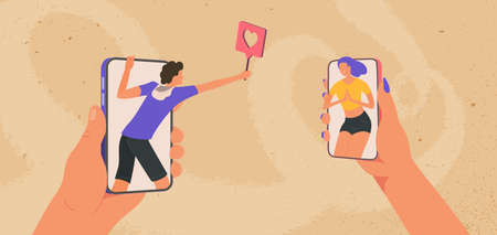 Young man and girl looking at each other on smartphones. Online meeting and flirting. Male giving a like female in social media. Boy telling he love girl by phone.