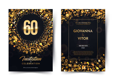 60th years birthday vector black paper luxury invitation double card. Sixty years wedding anniversary celebration brochure. Template of invitational for print dark background with bokeh lights