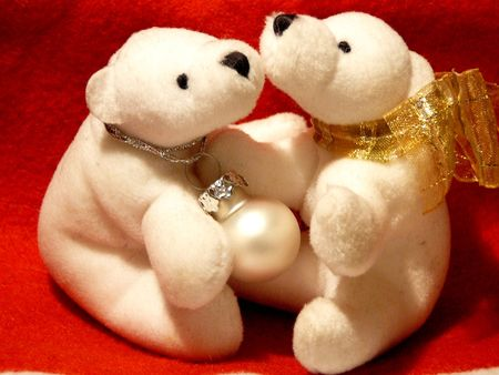 civility: two toy white bears x-mas decoration