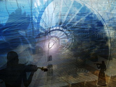 music metaphor with violins, spiral stairs, twigs, silhuettes, tower clock