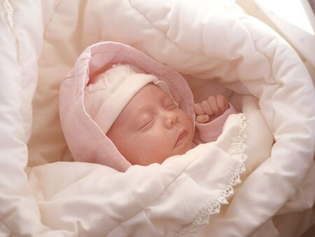 dreaming sweet baby girl wrapped soft blanket Stock Photo - 3402570