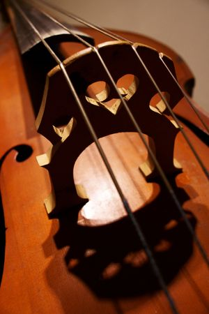 fragment of a contrabass sounding board and bridge close up