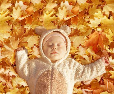quiet baby: cute baby dressed in fancy dress like little bear, sleeping on yellow autumn leaves