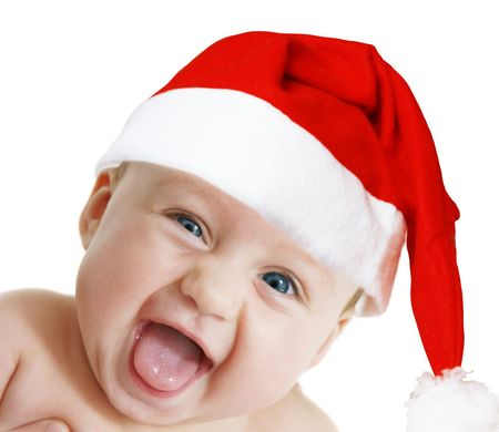 baby in Christmas bonnet looks at camera, on white background Stock Photo