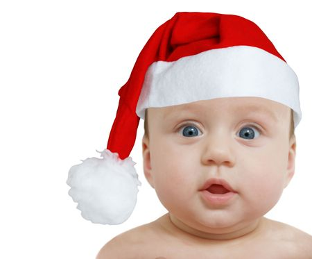 funny baby in big Santa Claus hat on white background, space for text