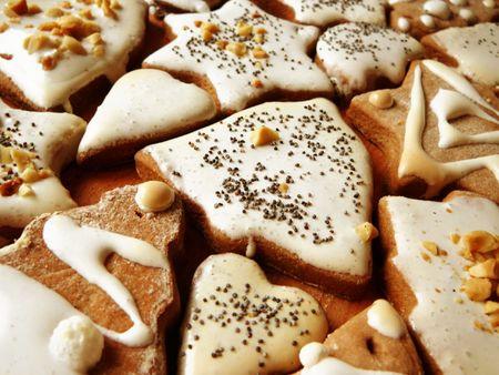 spicecake: Tortas de pan de jengibre de Navidad con frutos secos y semillas de amapola Foto de archivo