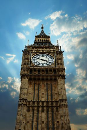 telephoto of Big Ben, London, with artistic clouds around photo