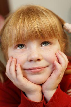 redhead little girl looking up in sweet dreams