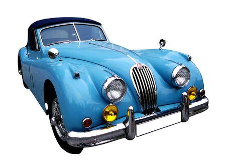coche antiguo: azul cosecha autom�tica aislados, contiene recortes camino