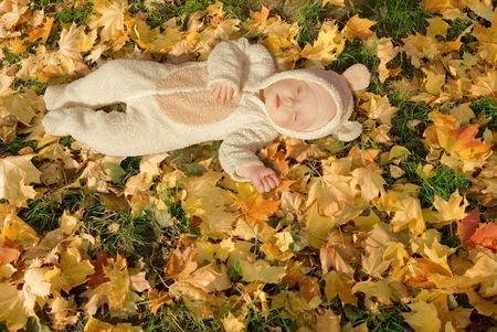 cute baby dressed in fancy dress like little bear, sleeping on yellow autumn leaves